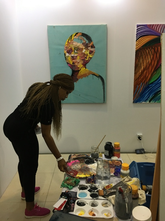 Queen Nwaneri in the Live art studio at Art X