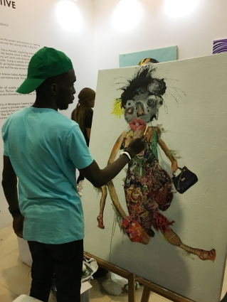 Sejiro Avoseh in the Live art studio at Art X